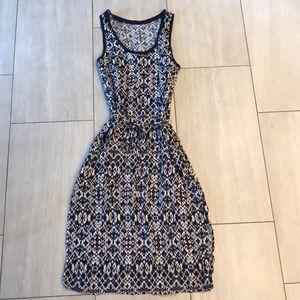 Anthropologie Navy/White/Pink Dress